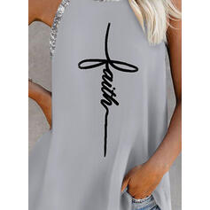 Print Sequins Letter Round Neck Sleeveless Tank Tops