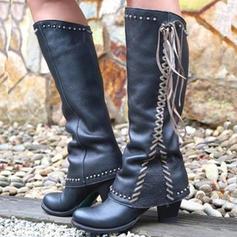 Frauen PU Stämmiger Absatz Stiefel mit Quaste Schuhe