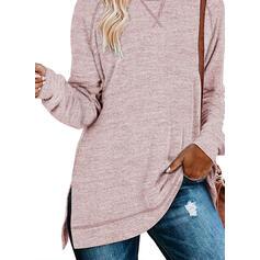 Einfarbig Rundhals Lange Ärmel Pullover