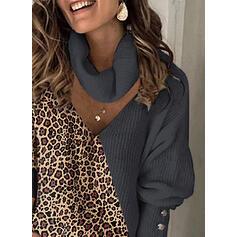 Blocchi di colore leopardo Dolcevita Casual Maglioni