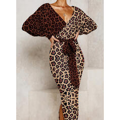 Leopard Long Sleeves Bodycon Elegant Midi Dresses