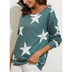 Print One Shoulder Lange Mouwen Casual T-shirts