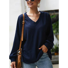 Solid Waffle Knit V neck Sweaters