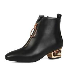 Femmes Similicuir Talon bottier Bottes avec Zip chaussures