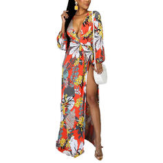 Print/Floral Long Sleeves A-line Casual/Vacation Midi Dresses