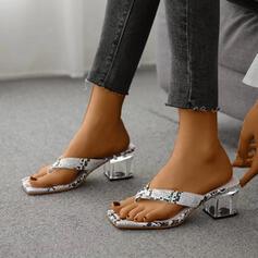 Femmes PU Talon bottier Sandales À bout ouvert avec La copie Animale chaussures