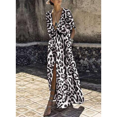Animal Print 1/2 Sleeves A-line Casual/Vacation Maxi Dresses