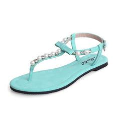 Women's Leatherette Flat Heel Sandals Slingbacks With Imitation Pearl shoes