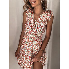 Floral Sleeveless A-line Above Knee Casual/Vacation Dresses