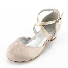 Girl's Silk Like Satin Low Heel Round Toe Closed Toe Mary Jane Flower Girl Shoes With Rhinestone
