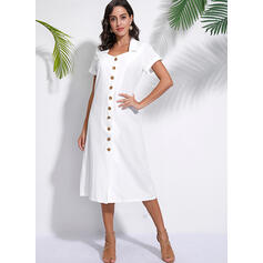 Solid Short Sleeves Shift Casual Midi Dresses