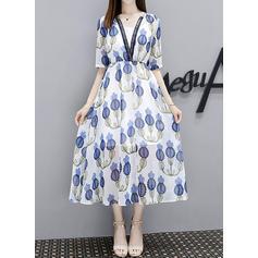 Print Floral V-neck Midi A-line Dress