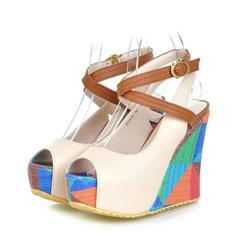 Femmes PU Talon compensé Sandales Escarpins Compensée À bout ouvert avec Boucle chaussures
