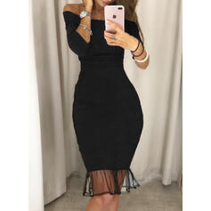 Solid 3/4 Sleeves Bodycon Knee Length Little Black/Sexy/Party Dresses