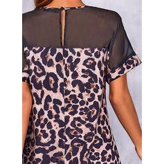 leopar Mâneci Scurte Shift Elbiseleri Deasupra Genunchiului gündelik Tunică Elbiseler
