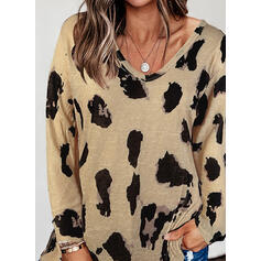 Leopard V-Neck Long Sleeves T-shirts