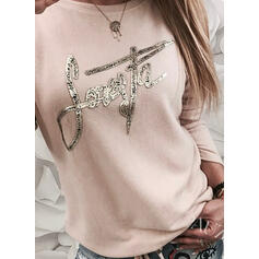 Figure Sequins Round Neck Long Sleeves T-shirts