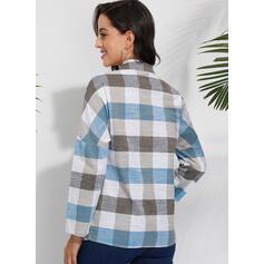 Καρό Πετό Μακρυμάνικο Χωρίς Κουμπιά Κολάρου Καθημερινό Μπλούζες Πουκάμισα
