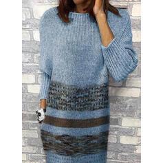 Nadrukowana Długie rękawy Koktajlowa Długośc do kolan Casual Sweter Sukienki