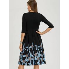 Nadrukowana Rękawy 1/2 W kształcie litery A Długośc do kolan Wintage/Przyjęcie/Elegancki Sukienki