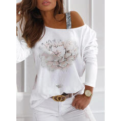 Print Floral Sequins One-Shoulder Long Sleeves Casual Blouses