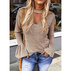 Solid V-Neck Flare Sleeve Long Sleeves Casual Elegant Knit Blouses