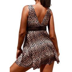 Leopard Drucken Träger V-Ausschnitt Sexy Übergröße Badekleider Bademode