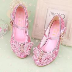 Girl's Leatherette Low Heel Closed Toe Flower Girl Shoes With Bowknot Rhinestone Velcro