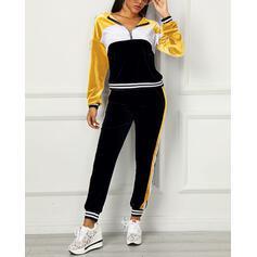 Cappuccio Maniche lunghe Color Block Alla moda Set di top e pantaloni