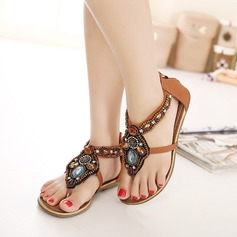 Women's Leatherette Flat Heel Sandals With Beading Rivet Zipper Chain shoes