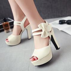 Femmes PU Talon bottier Sandales Escarpins Plateforme À bout ouvert Escarpins avec Bowknot chaussures