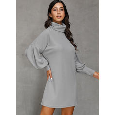 Solid Long Sleeves/Lantern Sleeve Shift Above Knee Casual Dresses