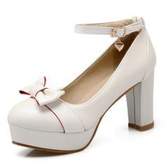 Femmes Similicuir Talon stiletto Escarpins Plateforme Bout fermé avec Bowknot chaussures