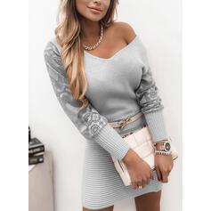 Jednolity Koronka Dekolt w kształcie litery V Casual Długie Sukienka sweterkowa