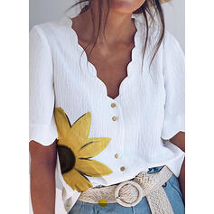 Sunflower Print V-Neck 1/2 Sleeves Button Up Casual Elegant Blouses