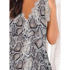 Print Lace V-Neck Sleeveless Tank Tops
