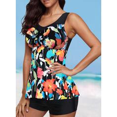 Floral Print Round Neck U-Neck Elegant Casual Tankinis Swimsuits