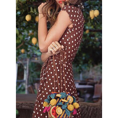 PolkaDot Cap Sleeve A-line Asymmetrical Casual/Vacation Dresses