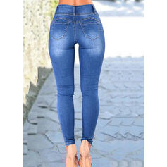 Shirred Plus Size Sexy Plain Denim & Jeans