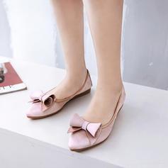 Frauen Satin Flascher Absatz Flache Schuhe Geschlossene Zehe mit Bowknot Schuhe