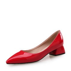 Women's Patent Leather Chunky Heel Closed Toe shoes