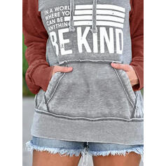 Print Color Block Figure Long Sleeves Hoodie