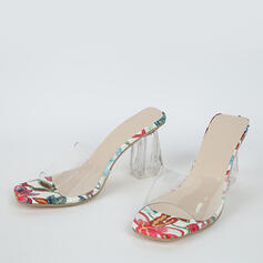 Women's PVC Chunky Heel Sandals With Crystal Heel shoes