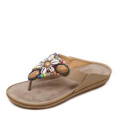 Femmes Similicuir Talon plat Sandales À bout ouvert Escarpins Tongs avec Strass chaussures