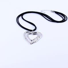 Classic Heart Alloy Braided Rope Women's Necklaces
