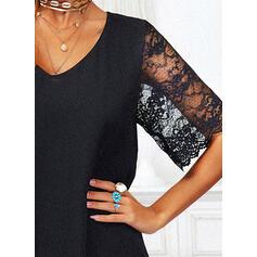 Lace/Solid 1/2 Sleeves/Flare Sleeves Shift Above Knee Little Black/Elegant Dresses