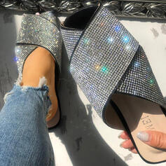 Women's PU Low Heel Sandals Closed Toe Slippers With Rhinestone Sequin shoes