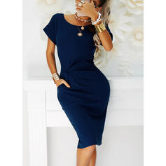 Solid Short Sleeves Bodycon Knee Length Little Black/Casual Pencil Dresses