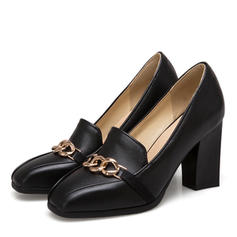 Women's Leatherette Chunky Heel Pumps With Chain shoes