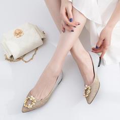 Women's Sparkling Glitter Flat Heel Flats Closed Toe With Rhinestone Imitation Pearl Split Joint shoes